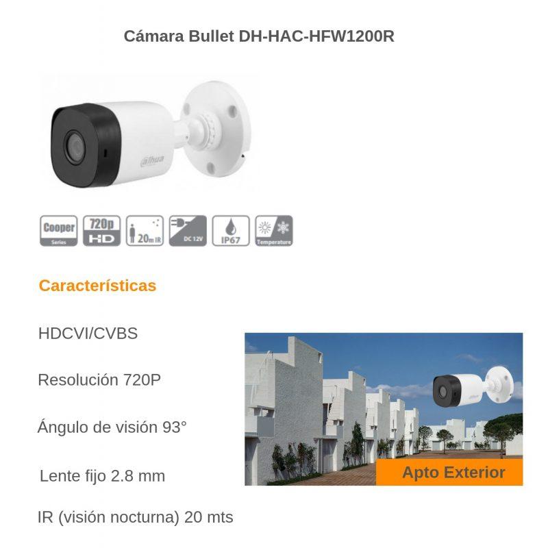 Camara de Seguridad Bullet Dahua HAC-B1A11P HD 720P 1Mpx Lente 2.8MM IR IP67 2