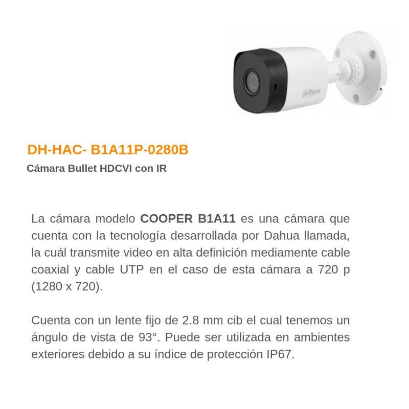 Camara de Seguridad Bullet Dahua HAC-B1A11P HD 720P 1Mpx Lente 2.8MM IR IP67 3