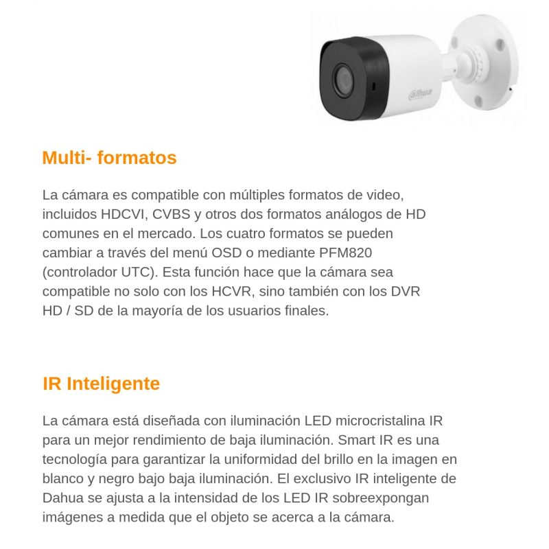 Camara de Seguridad Bullet Dahua HAC-B1A11P HD 720P 1Mpx Lente 2.8MM IR IP67 4