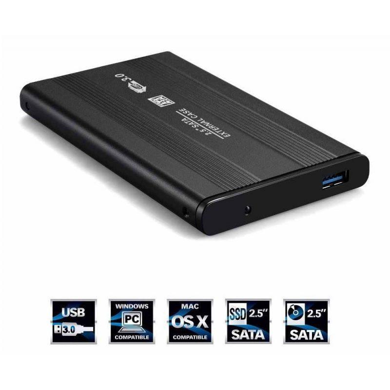 Gabinete Carcasa Xtreme TP-U25S30 de Aluminio para Disco Duro 2.5'' USB 3.0 a Sata (Negro) 3