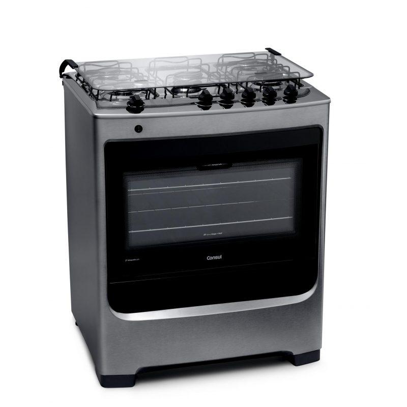 Cocina a Gas Consul CFS5NAR 5 Hornallas Acero Inoxidable Doble Vidrio 2