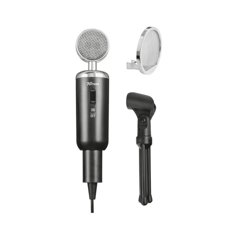Microfono Condensador Trust Madell con Filtro de rejilla y Tripode 4