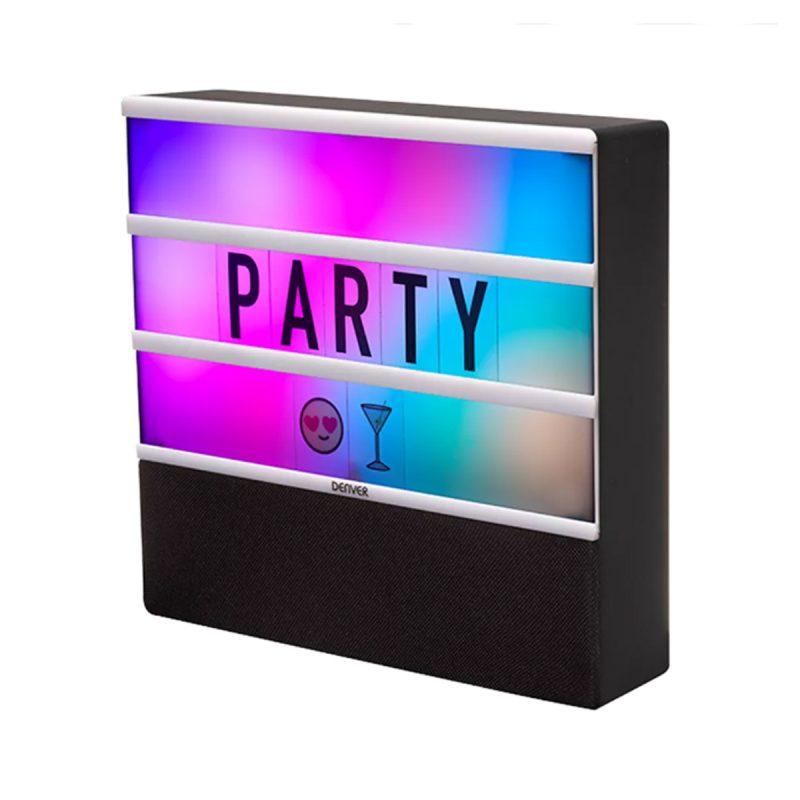 Parlante Portatil Denver BTL-50 Letrero RGB Con Luces Bluetooth MP3 + Letras y Emojis 1