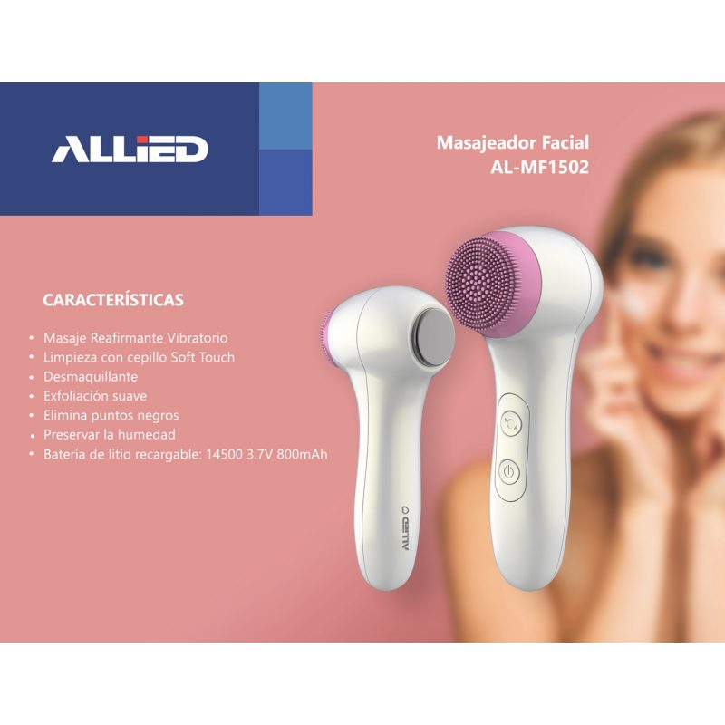 Masajeador Facial Allied AL-MF1502 Limpieza con cepillo Soft Touch 3