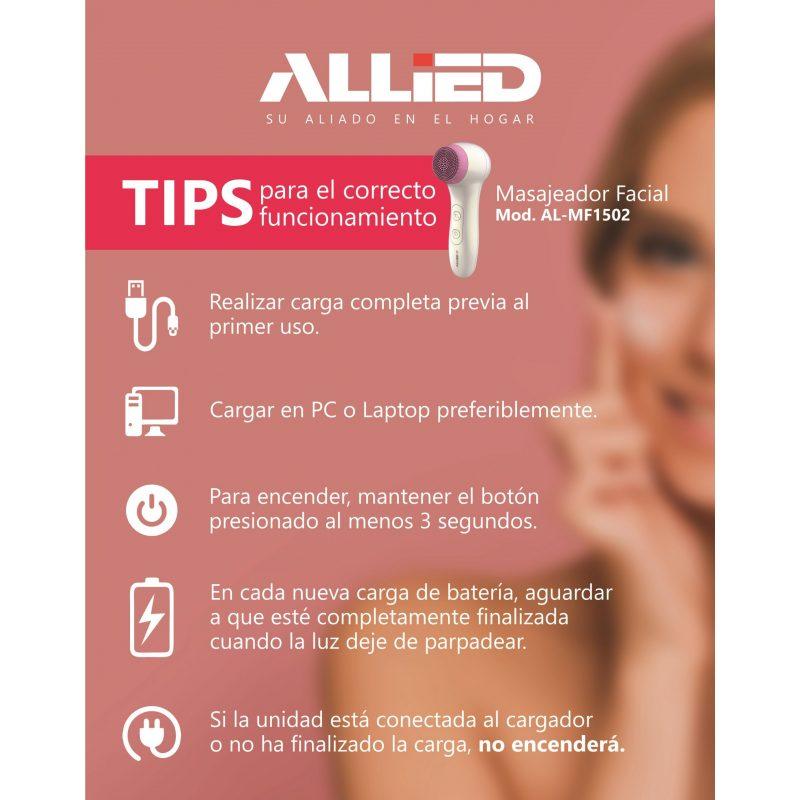 Masajeador Facial Allied AL-MF1502 Limpieza con cepillo Soft Touch 4