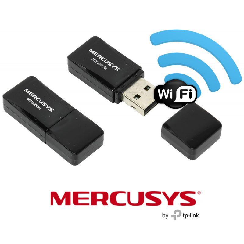 Mini Adaptador USB Inalambrico WiFi Mercusys MW300UM 300Mbps 2