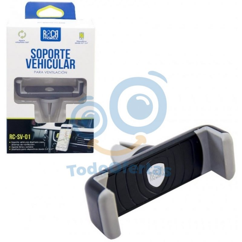 Soporte ROCA RC-SV-001 Ajustable Para Celulares Tipo Pinza para Auto 3