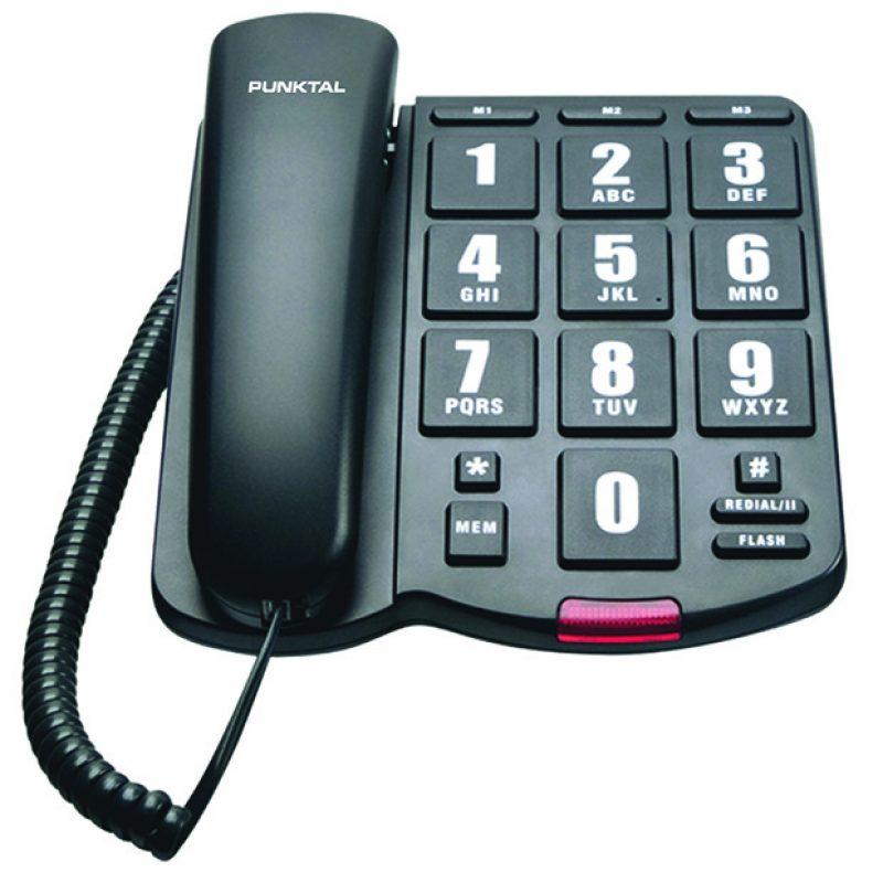 Telefono Fijo Punktal PK-EP3000 de Numeros Grandes Cableado 1