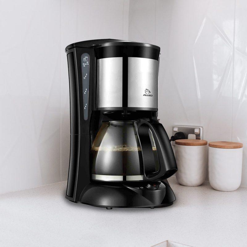 Cafetera de Goteo Electrica Allied AL-CM62 1000w 10 a 15 Tazas Acero Inoxidable 2