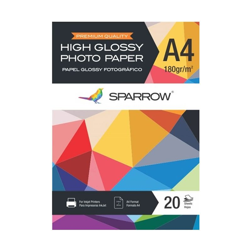 Papel Foto Sparrow A4 180grs High Glossy x20 Hojas 1