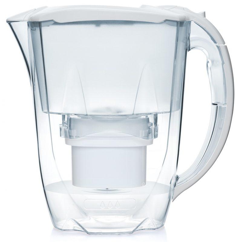 Jarra Aqua Optima Oria Blanca 2.8 Lts. con Purificador de Agua + Filtro 30 días incluido 2