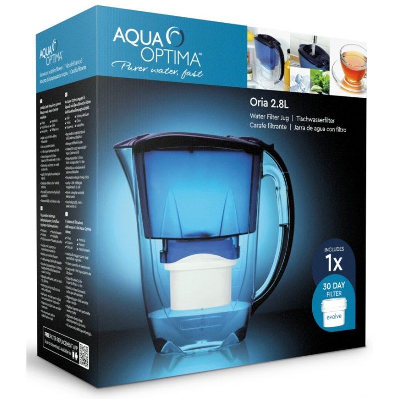Jarra Aqua Optima Oria Blue 2.8 Lts. con Purificador de Agua + Filtro 30 días incluido 3