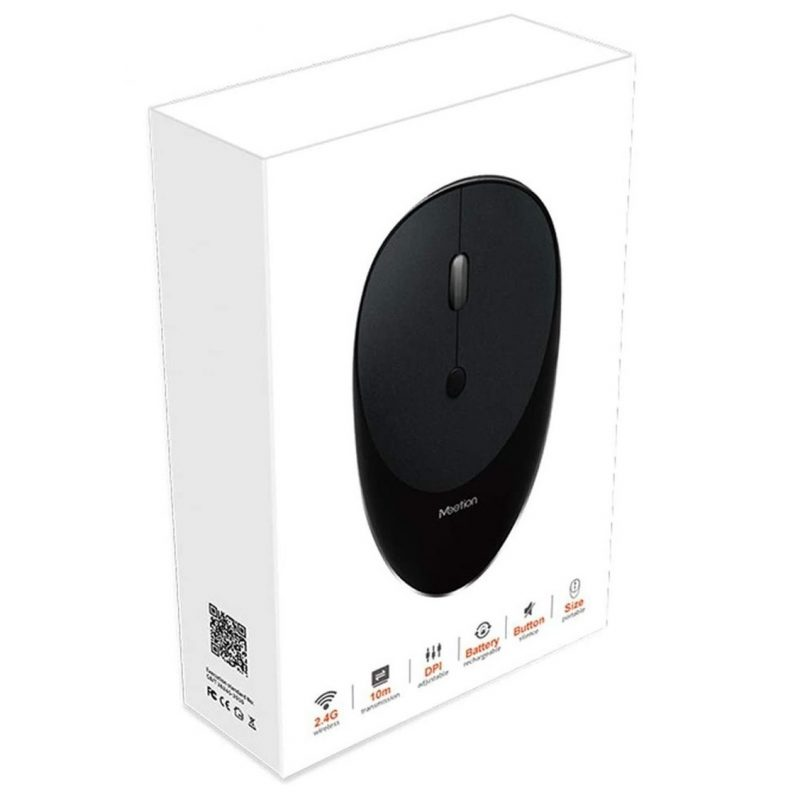 Mouse Inalambrico USB MeeTion MT-R600 con Batería Recargable Moderno Diseño - Negro 2
