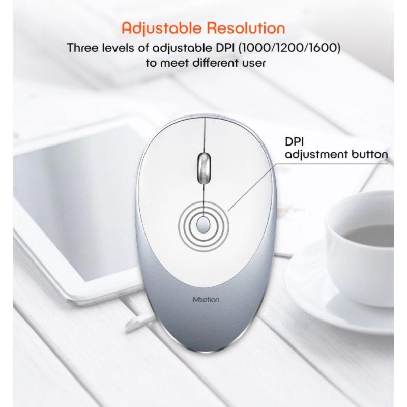 Mouse Inalambrico USB MeeTion MT-R600 con Batería Recargable Moderno Diseño - Negro 3