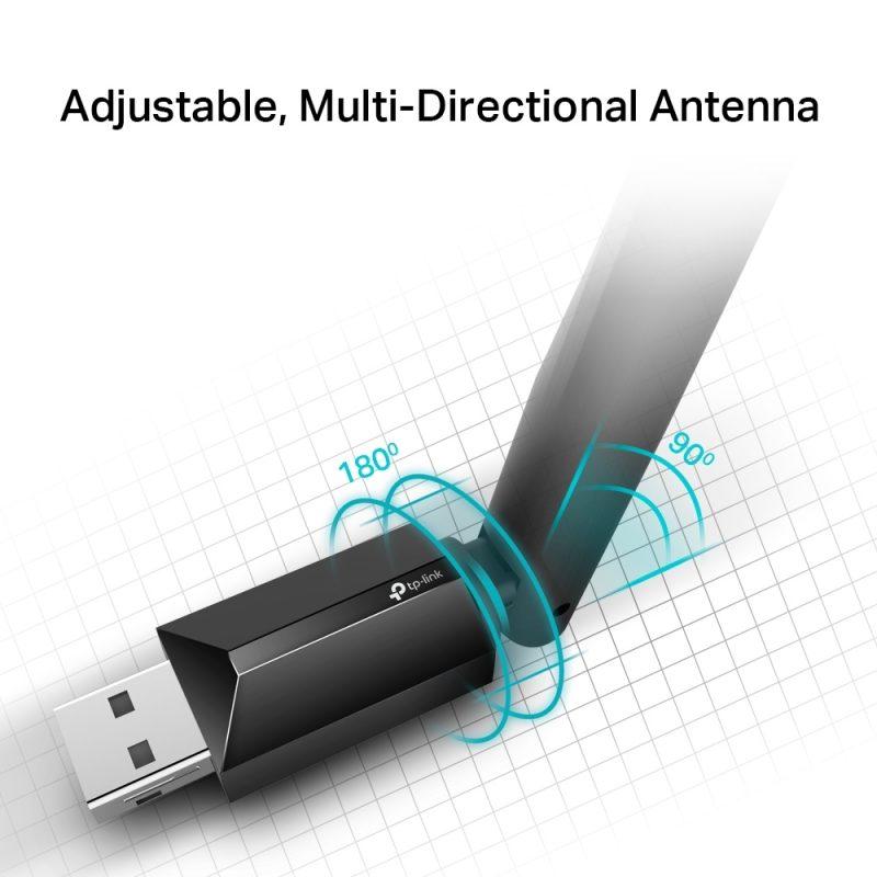 Antena USB Receptor de WiFi TP-Link Archer T2U Plus AC600 de Alta Ganancia Doble Banda 3