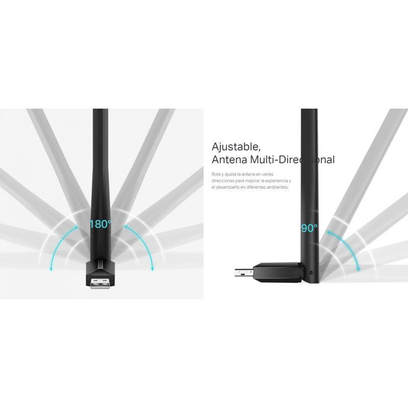 Antena USB Receptor de WiFi TP-Link Archer T2U Plus AC600 de Alta Ganancia Doble Banda 4