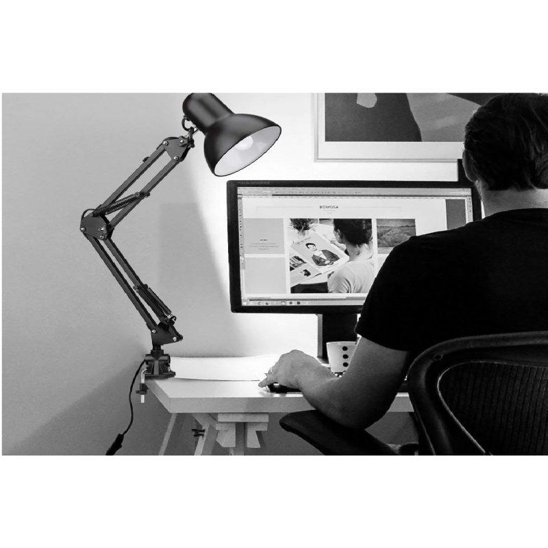 Lampara Portatil Arquitecto Articulada con Pinza Ideal Estudio Negra 3