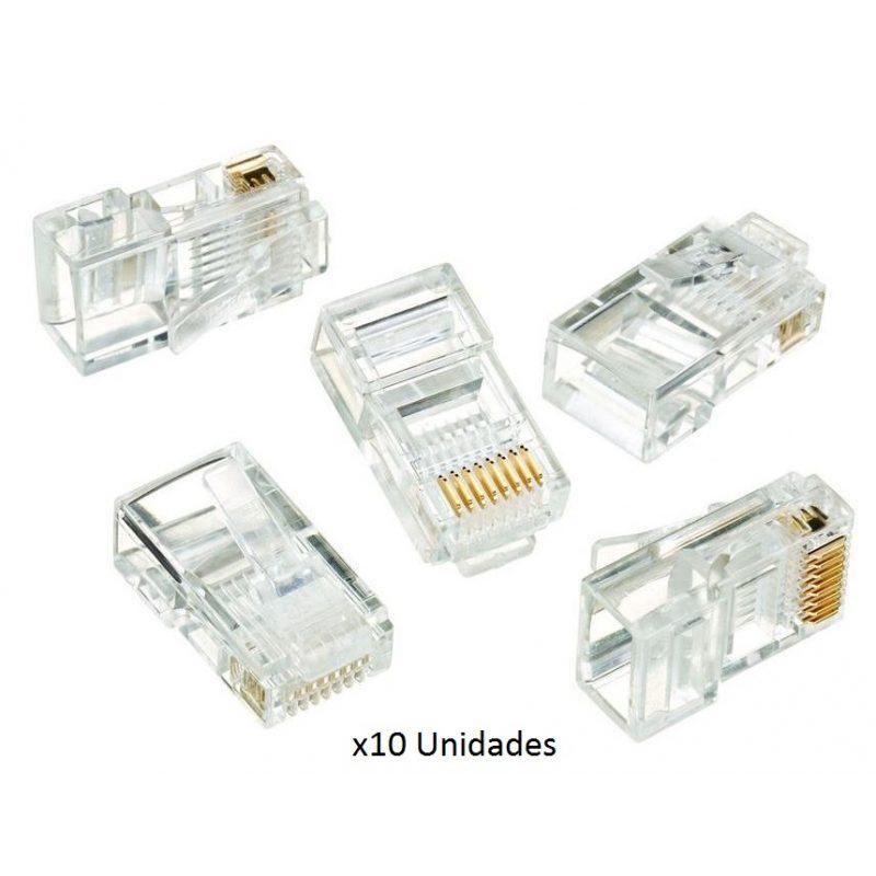 Fichas Conector rj45 Cat5e Para Cables de Red - Bolsa x10 Unidades 1