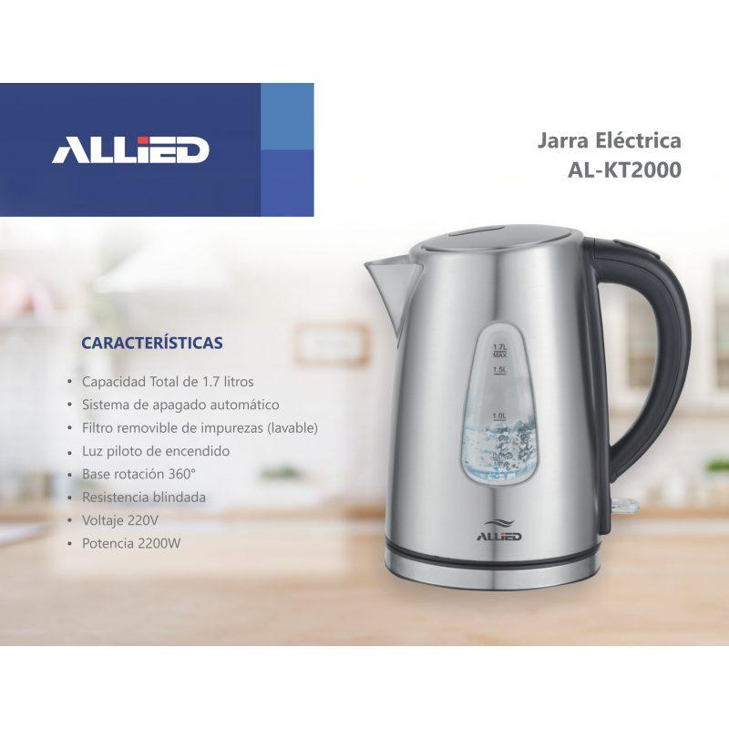 Jarra Electrica Allied AL-KT2000 1.7 Litros Acero Inoxidable 2200W 3