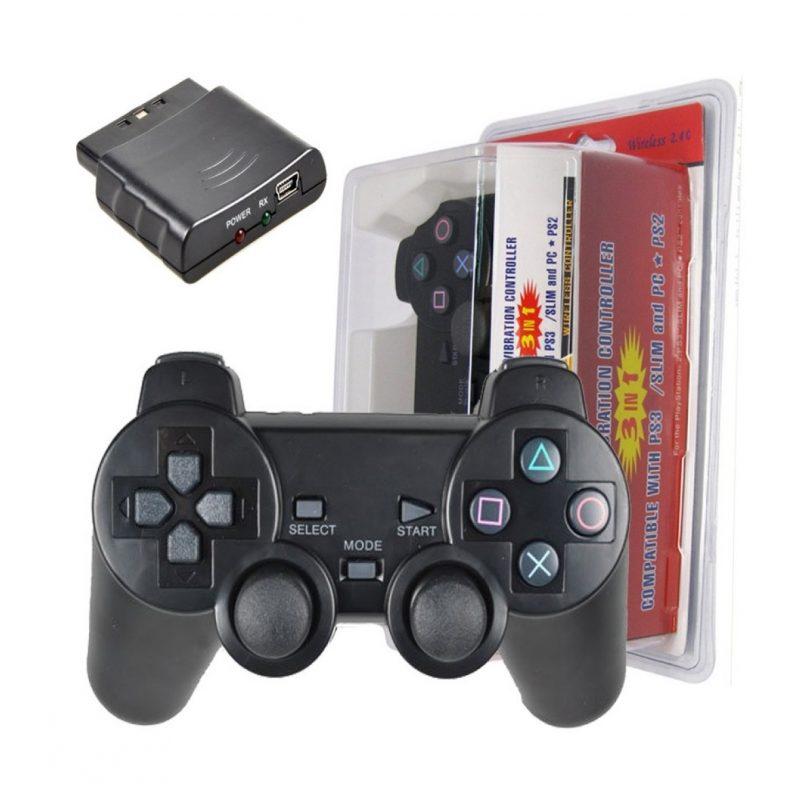 Joystick Inalambrico Compatible para PlayStation 3; 2 y para PC Computadoras Double Shock - Negro 2