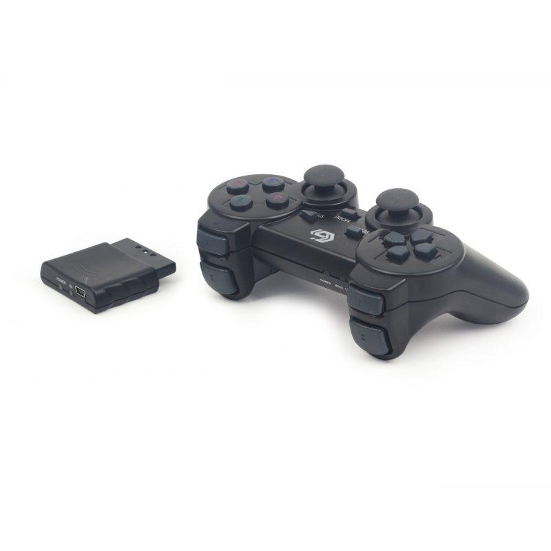 Joystick Inalambrico Compatible para PlayStation 3; 2 y para PC Computadoras Double Shock - Negro 3