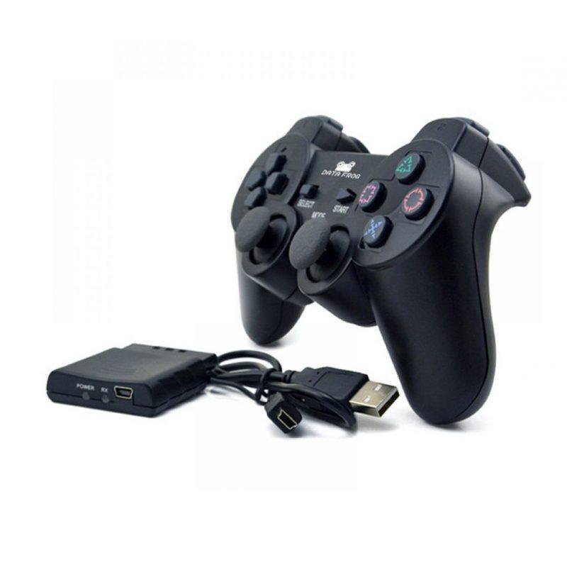 Joystick Inalambrico Compatible para PlayStation 3; 2 y para PC Computadoras Double Shock - Negro 4