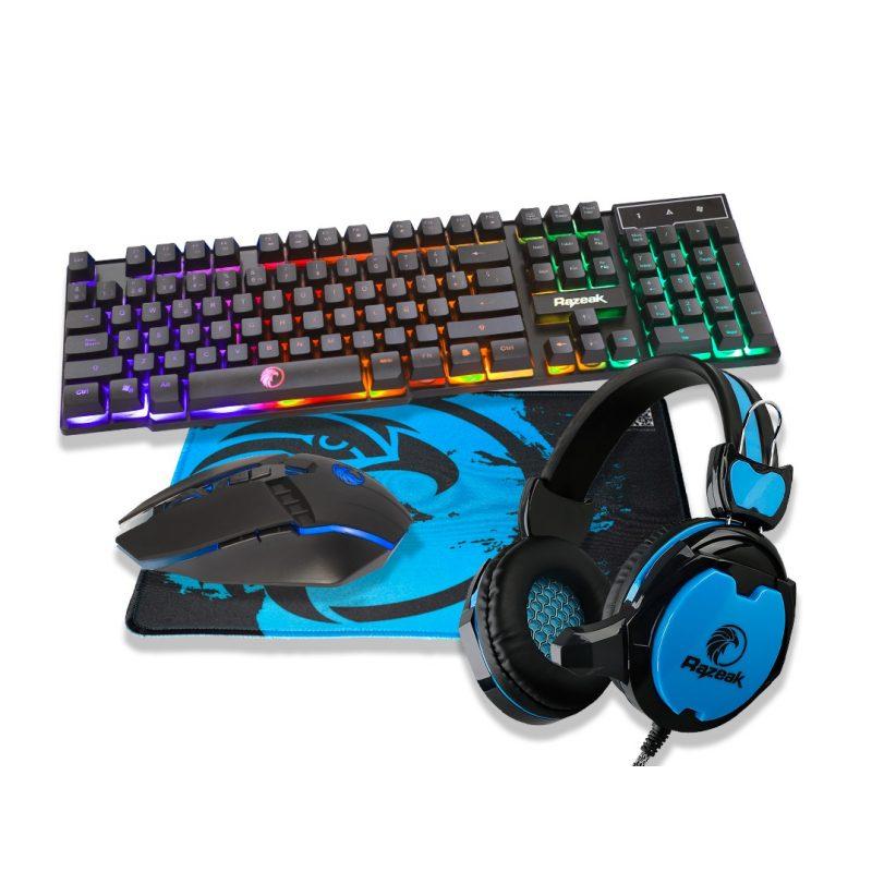 Combo Kit Gamer Razeak RGMC401 Teclado Retroiluminado + Mouse + Auricular + Mousepad 1