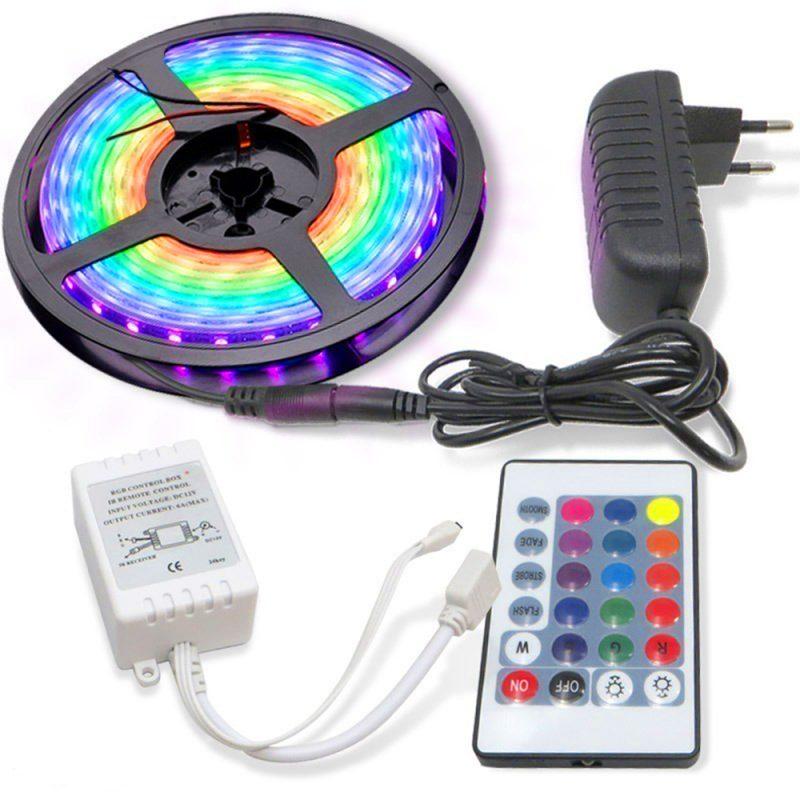 Rollo Cinta de Tiras LED RGB 5 Metros de largo con Transformador y Control remoto 1