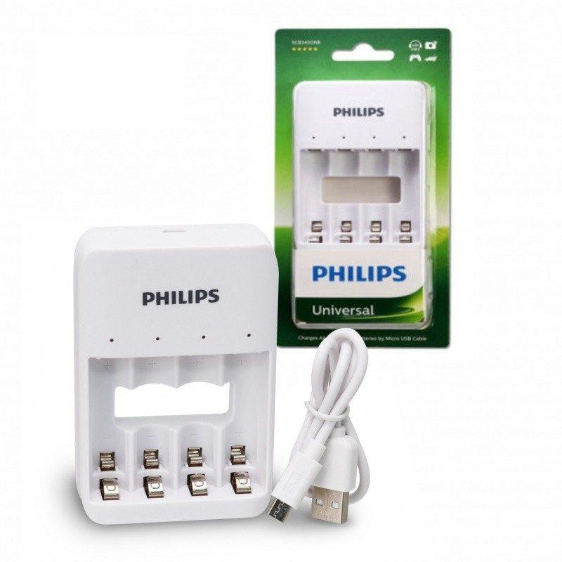 Cargador de Pilas USB Philips SCB3400NB/97 Para Pila AA y AAA 3