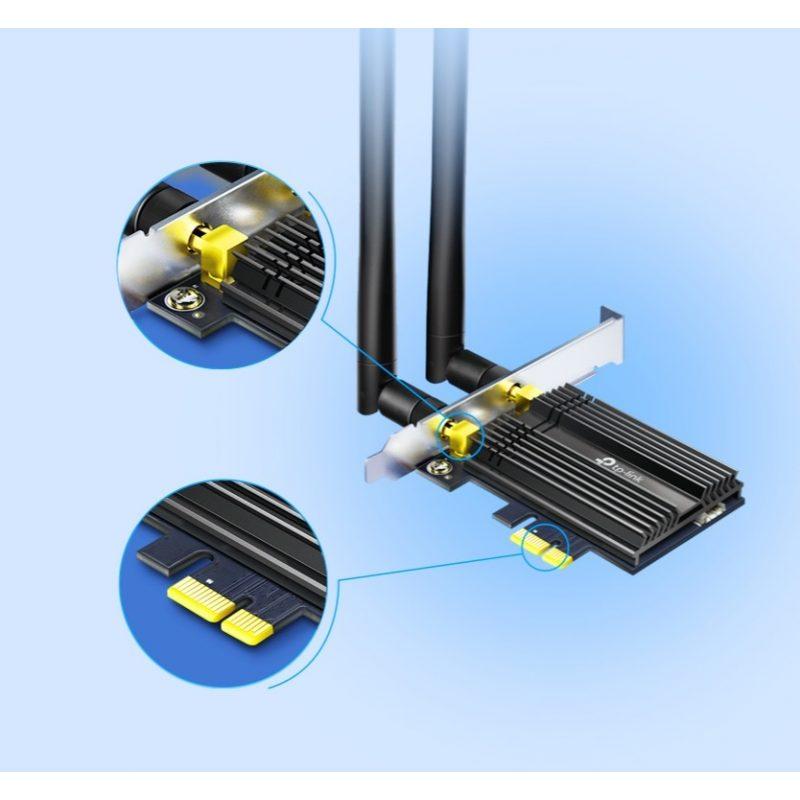 Adaptador PCIe TP-Link Archer TX50E AX3000 Wi-Fi 6 Dual Band Gamer Y Bluetooth 5.0 2