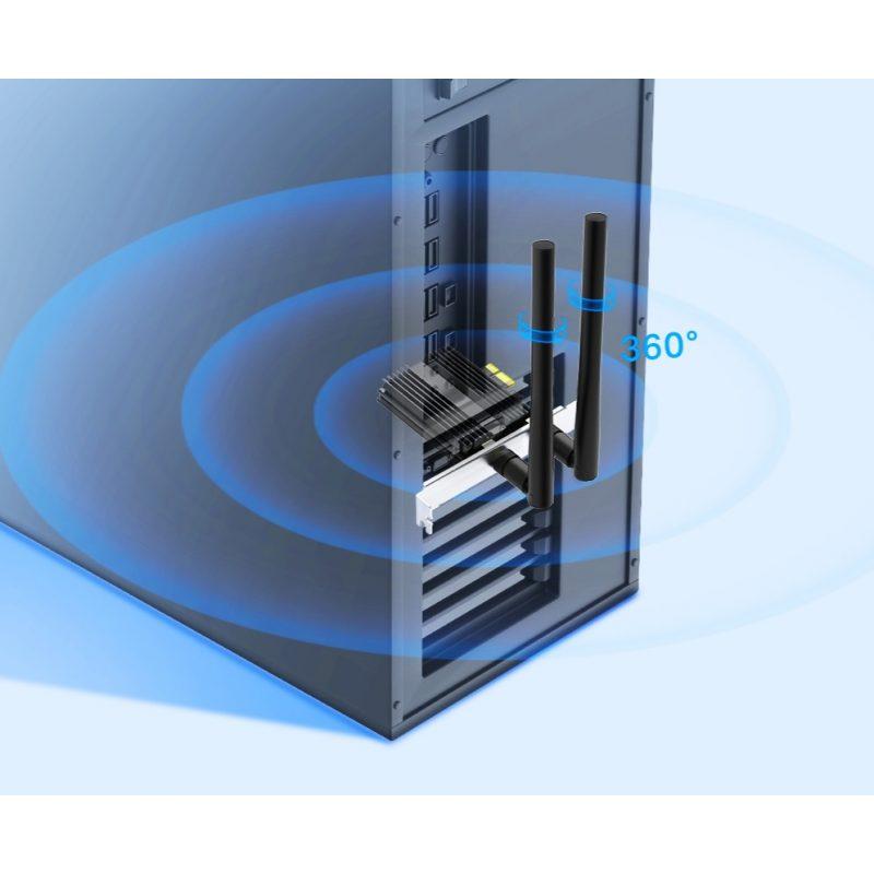 Adaptador PCIe TP-Link Archer TX50E AX3000 Wi-Fi 6 Dual Band Gamer Y Bluetooth 5.0 3