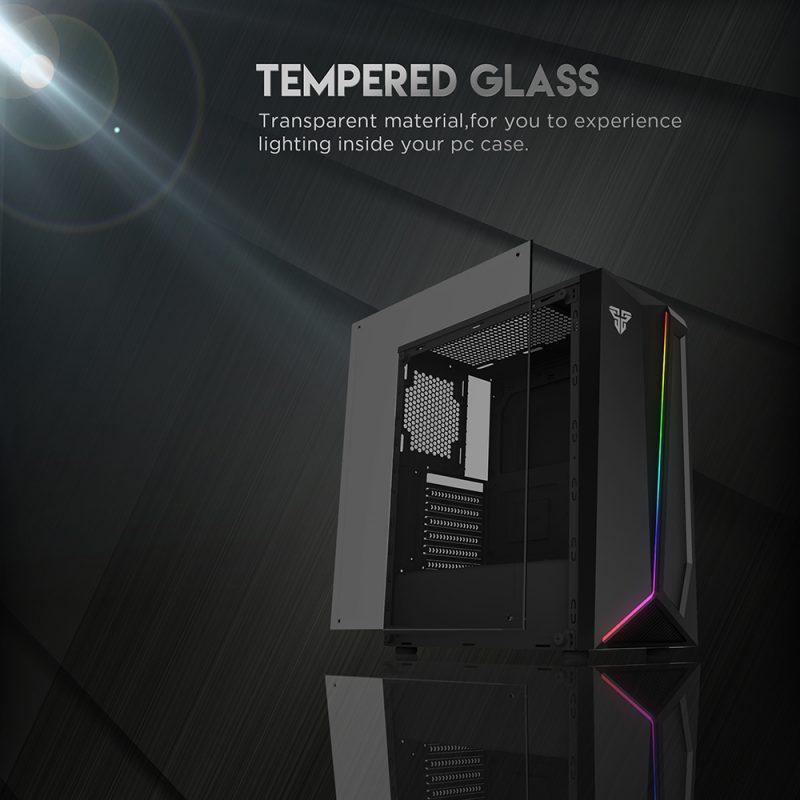 Gabinete Gamer Fantech CG71 PULSE RGB Lateral de Vidrio Templado (Sin Fuente) - Negro 4