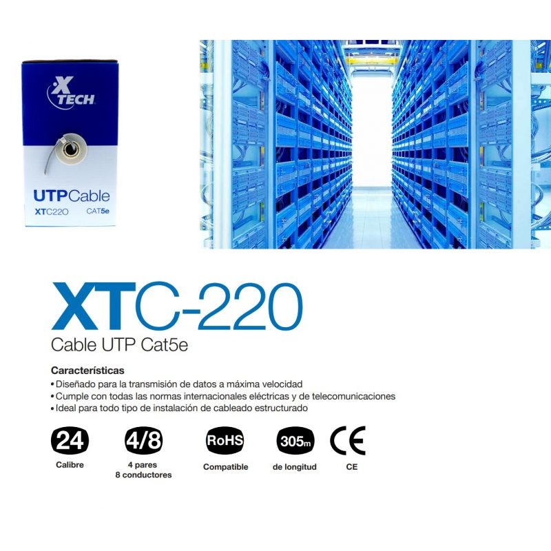 Bobina Cable de Red UTP X-Tech XTC-220 de 305 Metros Interior CAT5E - Gris 3