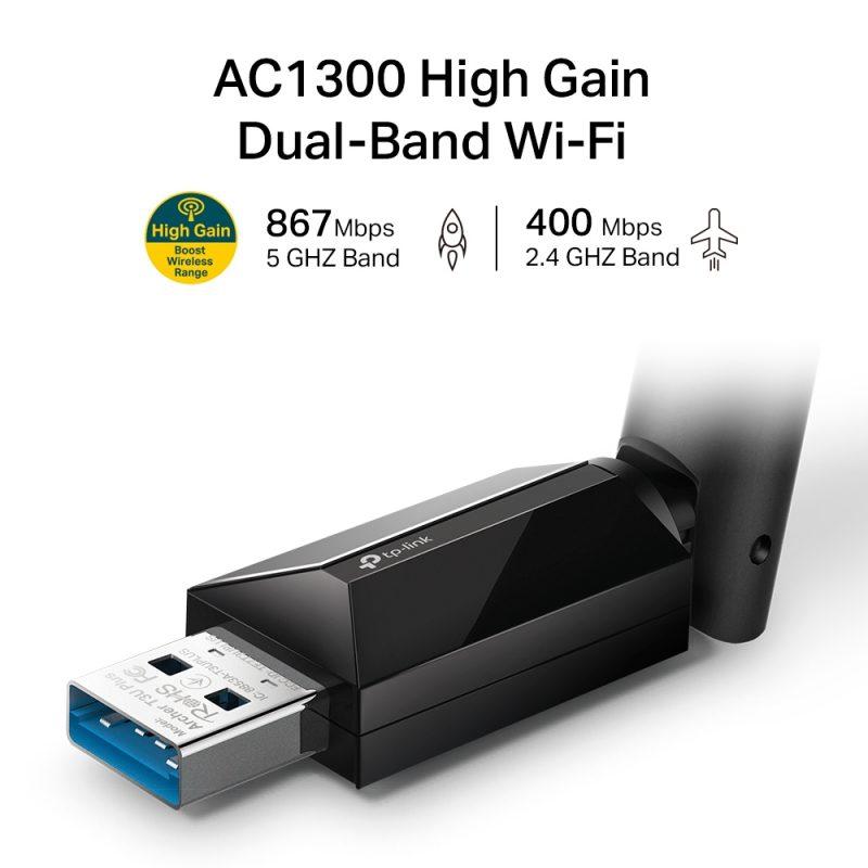 Antena USB Receptor de WiFi TP-Link Archer T3U Plus AC1300 de Alta Ganancia Doble Banda Ultrarápida 3
