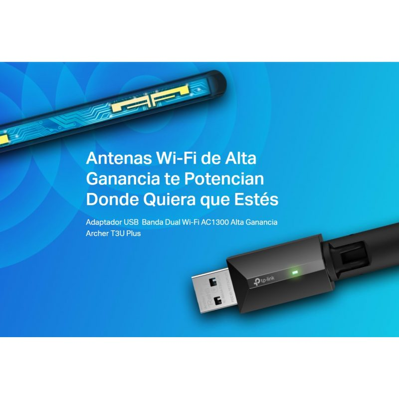 Antena USB Receptor de WiFi TP-Link Archer T3U Plus AC1300 de Alta Ganancia Doble Banda Ultrarápida 4