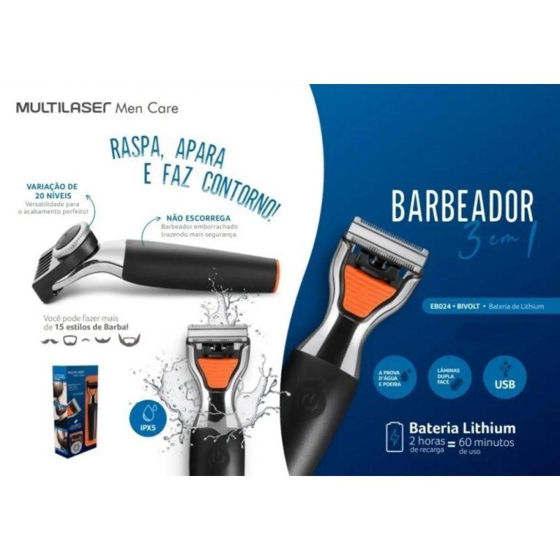 Afeitadora Facial y Corporal Profesional Multilaser EB024 3 en 1 Cuchillas de Acero Inoxidable 3