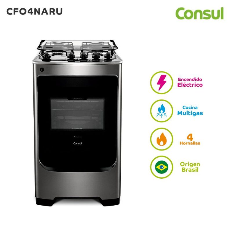 Cocina a Gas Consul CFO4NAR 4 Hornallas Acero Inoxidable Horno Doble Vidrio - Acero Inox 2