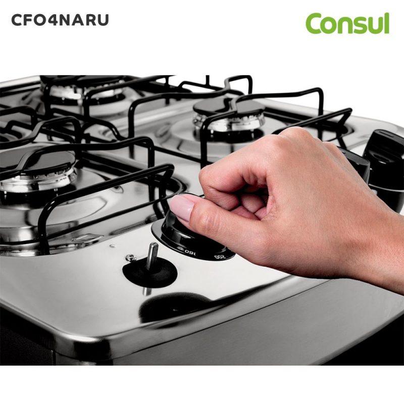 Cocina a Gas Consul CFO4NAR 4 Hornallas Acero Inoxidable Horno Doble Vidrio - Acero Inox 4