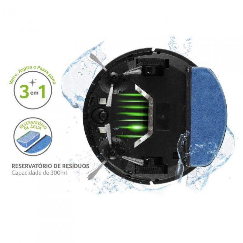 Aspiradora Robot Multilaser Hydra HO243 3 en 1 Inteligente Bateria Con Recipiente de Agua 2