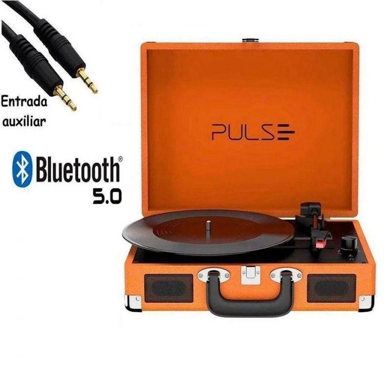 Victrola Tocadiscos Retro Pulse SP364 Con Parlantes Entrada Aux Bluetooth Diseño Retro con Valija 4