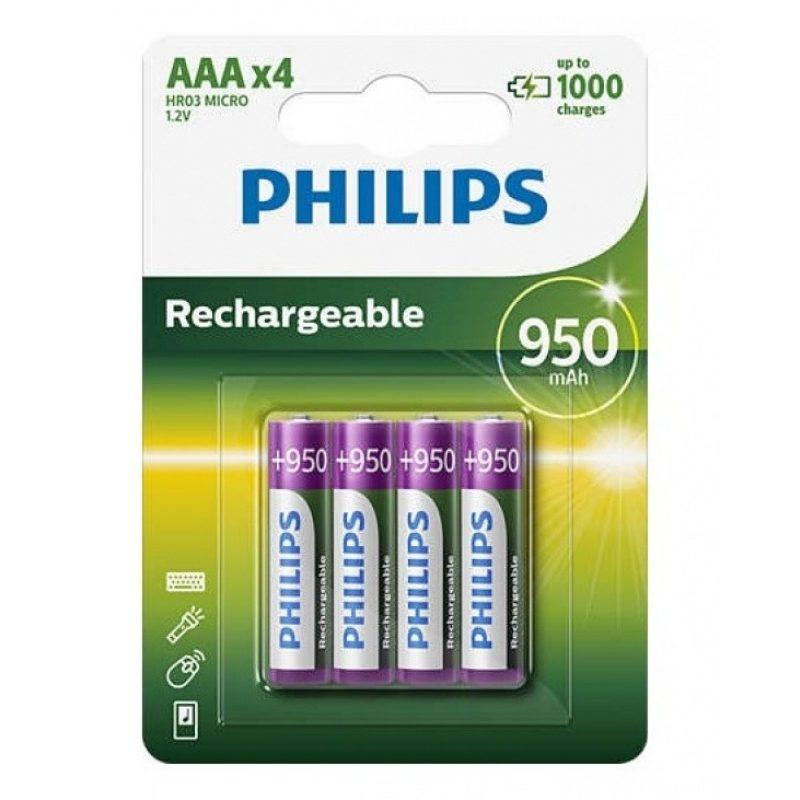 Pila Recargable Philips AAA 950mah Blister x4 Pilas 2