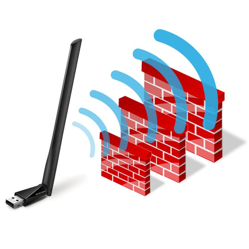 Antena USB Receptor de WiFi Mercusys MU6H de Alta Ganancia AC650 Doble Banda 1