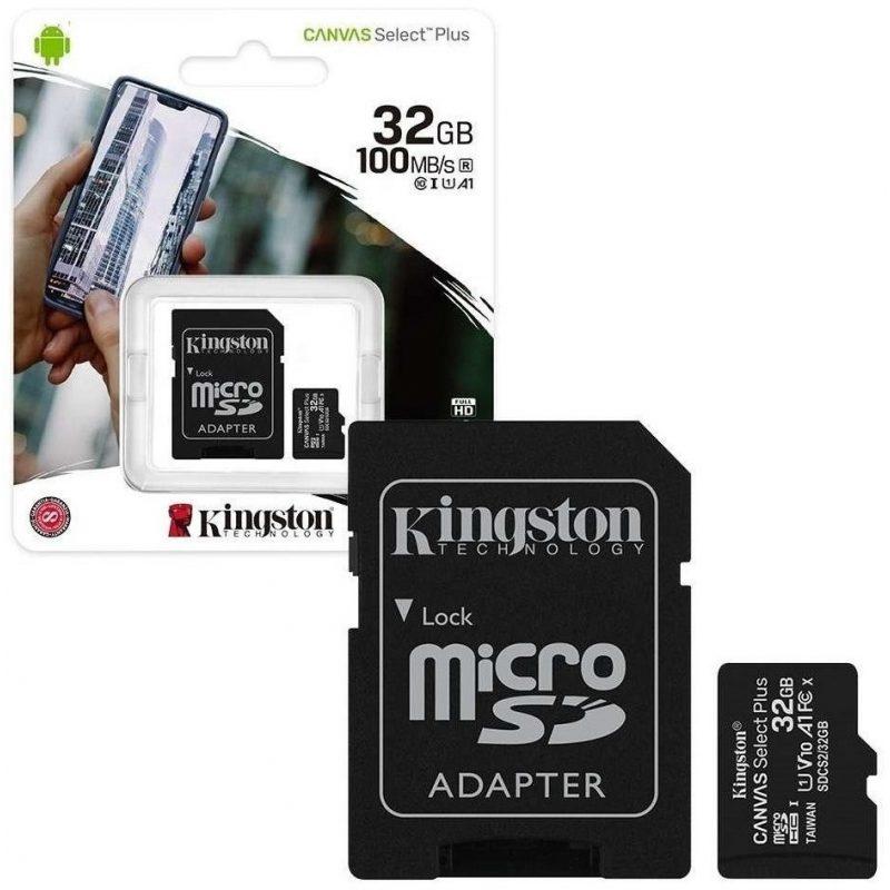 Memoria Micro SD Kingston 32GB Clase 10 Con Adaptador 1