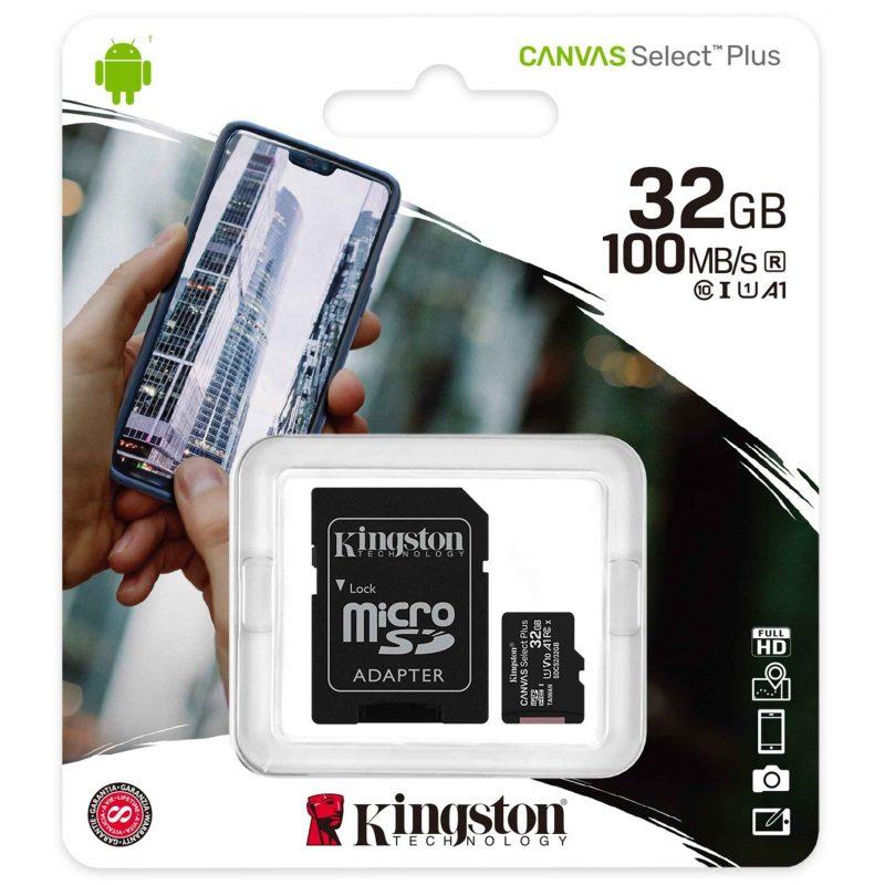 Memoria Micro SD Kingston 32GB Clase 10 Con Adaptador 4