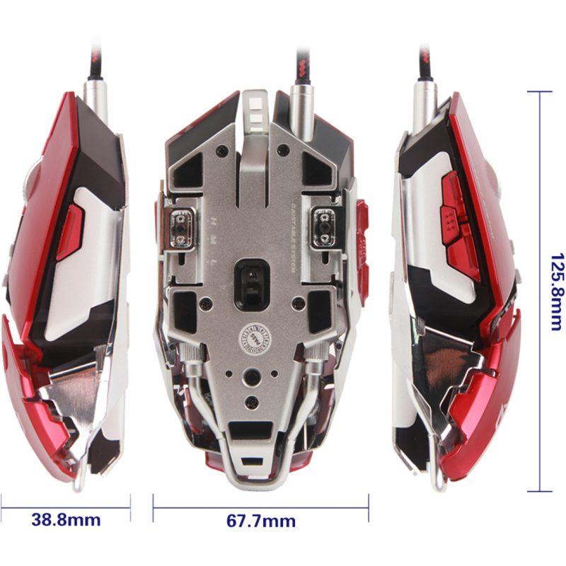 Mouse USB Gamer Meetion MT-M985 Red Ajustable Base de Aluminio 4
