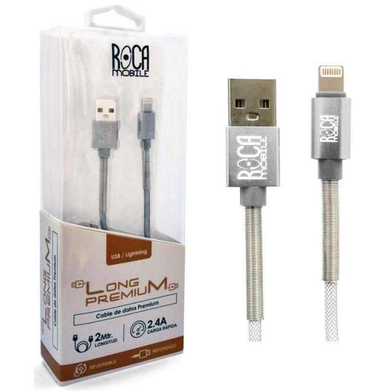 Cable de Datos ROCA Calidad Premium iPhone (Lightning) 2 Metros Forrado 1