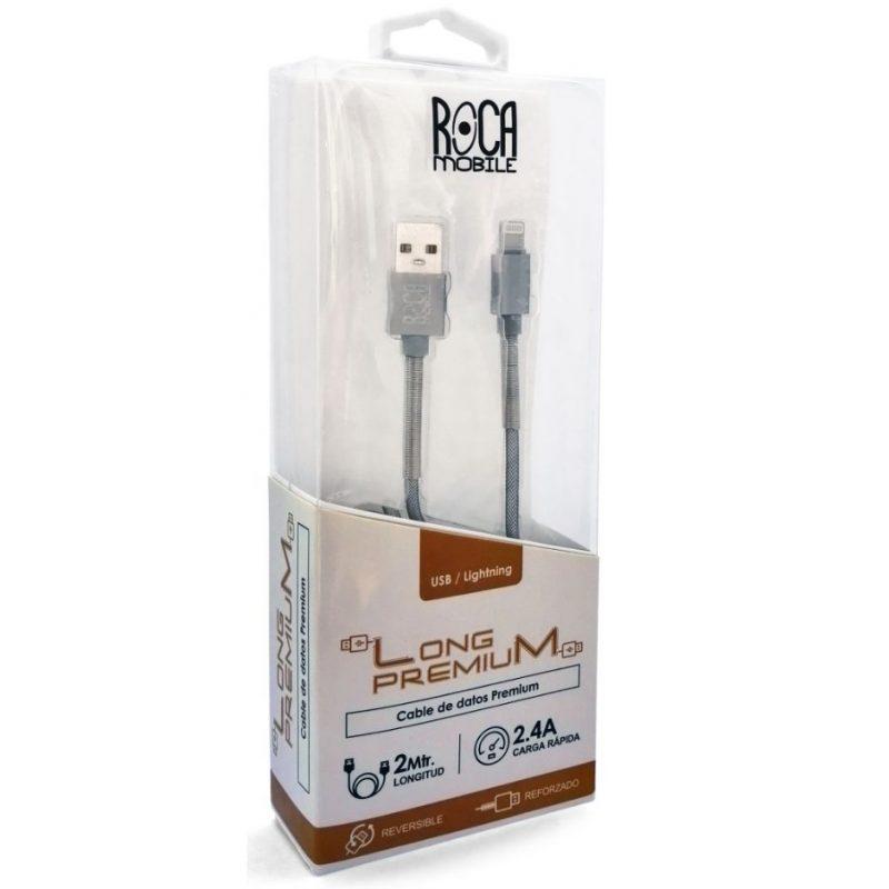 Cable de Datos ROCA Calidad Premium iPhone (Lightning) 2 Metros Forrado 3