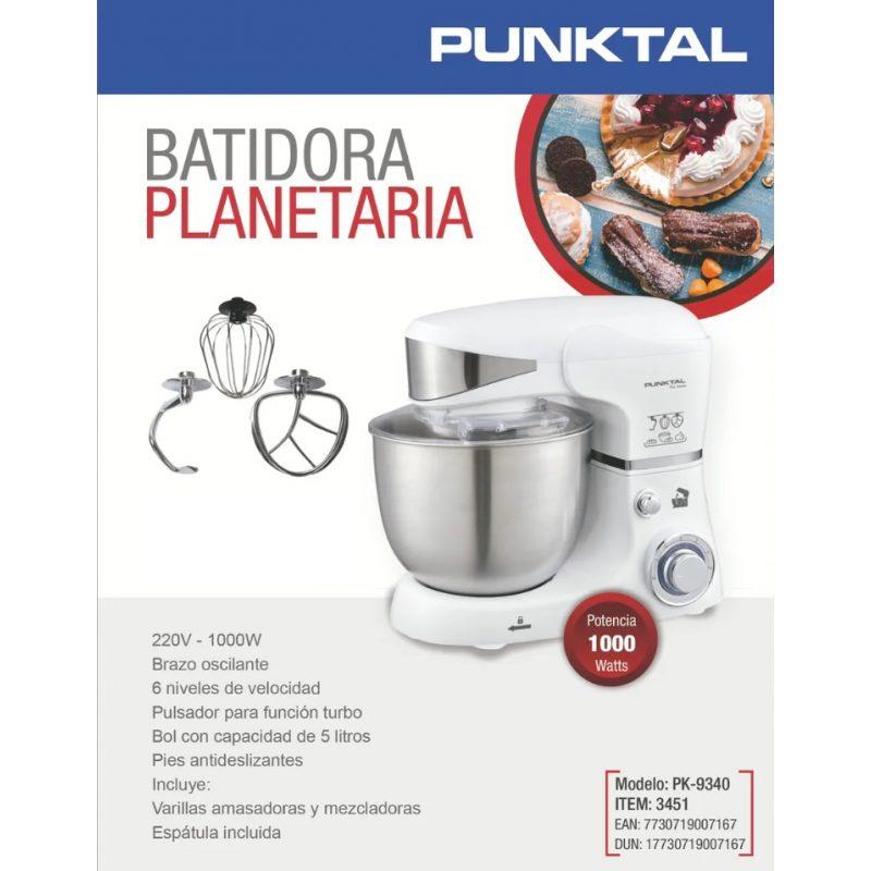 Batidora Planetaria Punktal PK-9340 1000w Bowl Acero Inoxidable 6 Niveles + Funciones - Blanca 3