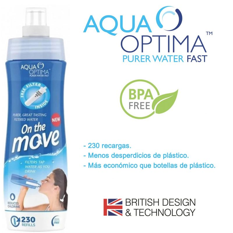 Botella Caramañola con Filtro de Agua Aqua Optima ideal para Deporte 2