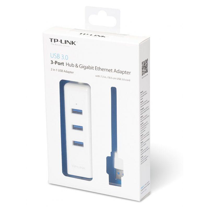 Adaptador de Red TP-Link UE330 USB 3.0 a Ethernet Gigabit + HUB USB 3.0 3